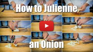 The video will teach you the classic technique for julienning an onion.