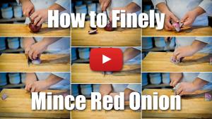 This video will teach you how to finely mince a red onion using professional level knife skill techniques.