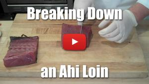 How to Break Down an Ahi Loin For Sashimi and Steaks - Culinary Knife Skills, Butchery, Fish - Video
